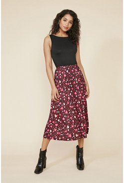 Multi Heart Print Pleated Midi Skirt