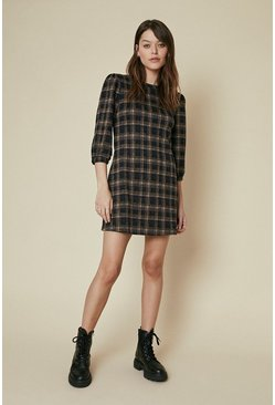 Multi Check Jacquard Puff Sleeve Shift Dress