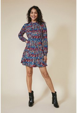 Multi Colourful Snake Shirred Cuff Skater Dress