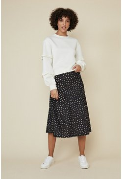 Black Spot Print Bias Midi Skirt