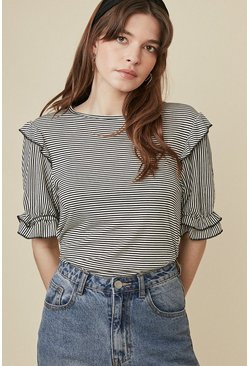 Blackwhite Stripe Frill Sleeve T Shirt