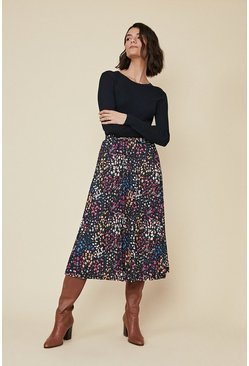 Black Ditsy Print Pleated Midi Skirt