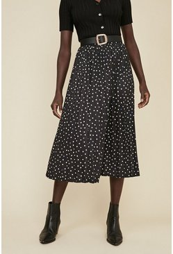 Black Spot Print Pleated Midi Skirt