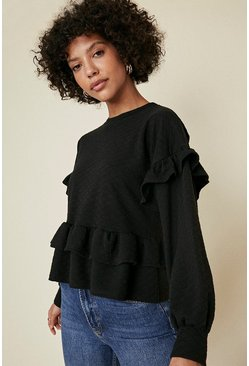 Black Quilted Frill High Sweatshirt