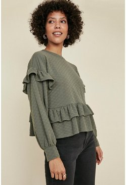 Khaki Quilted Frill High Sweatshirt