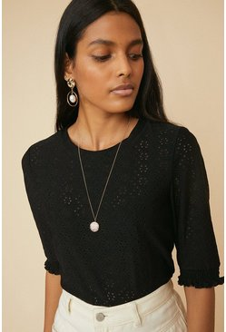 Black Broderie Shirred Cuff T Shirt
