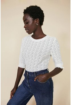 Ivory Broderie Shirred Cuff T Shirt