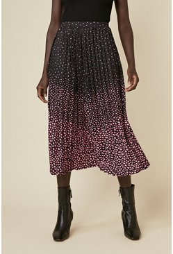 Multi Ombre Print Pleated Midi Skirt