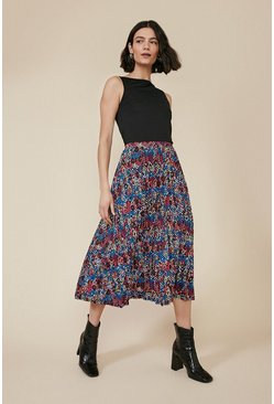 Multi Colourful Snake Pleated Midi Skirt