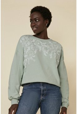 Sage Placement Floral Print Sweater