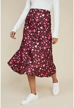 Multi Heart Bias Midi Skirt