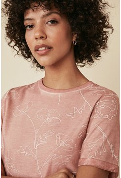 Pink Floral Print T Shirt