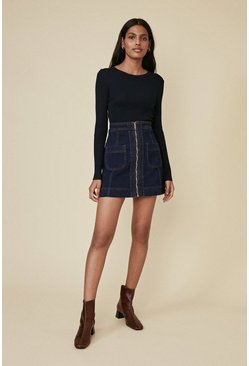 Dark wash Zip Through Pocket Detail Skirt