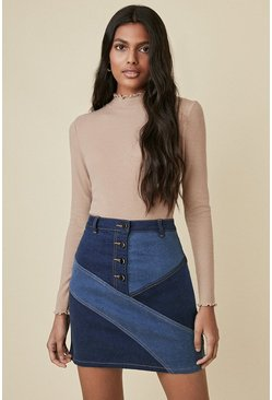 Denim Multi Patched A-line Skirt