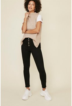 Black 5 Button Detail High Waisted Jean