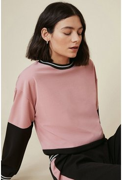 Dusty rose Metallic Tape Colour Block Tracksuit