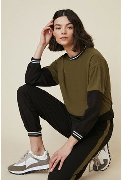 Khaki Metallic Tape Colour Block Tracksuit