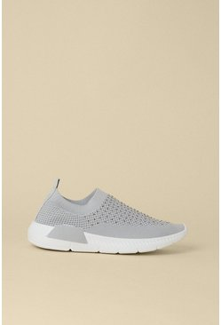 Grey Slip On Sparkle Trainers
