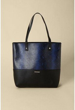 Blue Snake Print Tote Bag