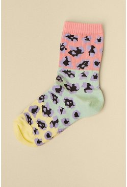 Multi Animal Print Pastel Socks