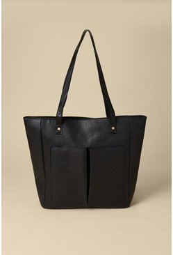Black Front Patched Shopper Bag