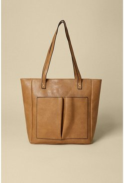 Tan Front Patched Shopper Bag