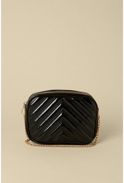 Black Quilted Zigzag Cross Body