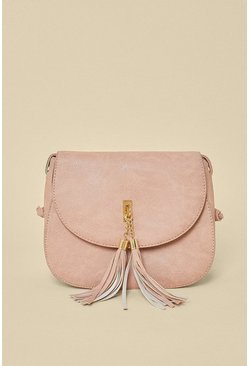 Dusky pink Tassel Cross Body Bag