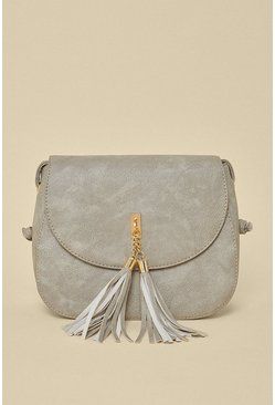 Grey Tassel Cross Body Bag