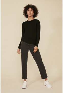 Black Enamel Button Crew Jumper