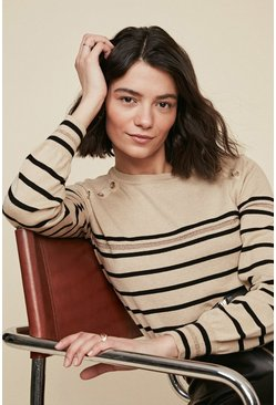 Camel Sparkle Stripe Jumper