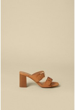 Tan Buckle Detail Double Strap Heeled Mule