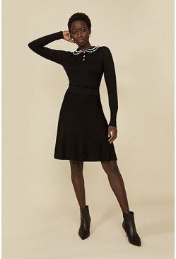 Black Tipped Enamel Button Dress