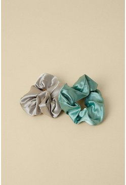 Multi Satin Green And Grey 2 Pack Scrunchie Set