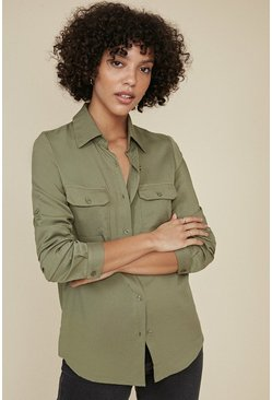 Khaki Long Sleeve Cargo Shirt