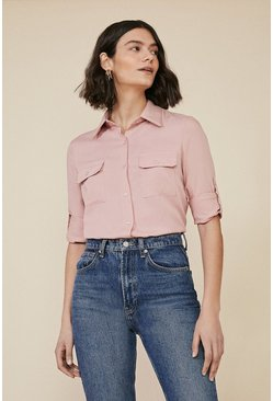 Soft pink Long Sleeve Cargo Shirt