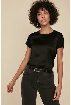 Black Silk Front T Shirt