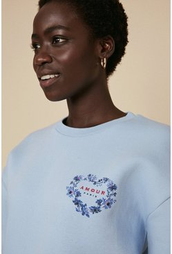 Light blue Amour Embroidered Sweatshirt