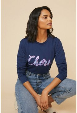 Navy Cheri Puff Print Long Sleeve T Shirt