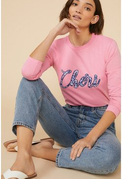 Pink Cheri Puff Print Long Sleeve T Shirt