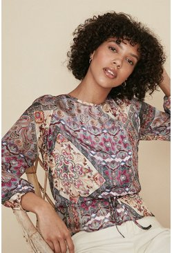 Multi Printed Chiffon Long Sleeve Blouse