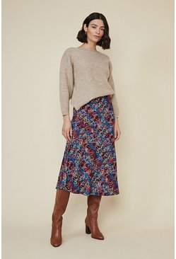 Multi Colourful Snake Bias Midi Skirt