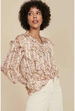 Multi Floral Printed Double Ruffle Blouse