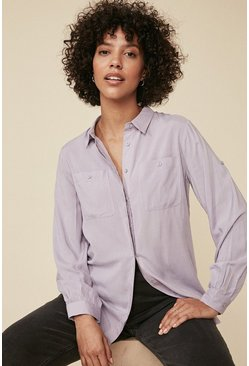 Purple Long Roll Sleeve Shirt