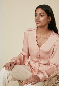 Pink Satin Trimmed Button Blouse
