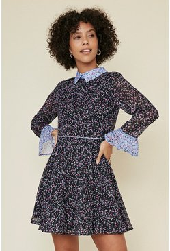 Blue Patched Ditsy Print Dress
