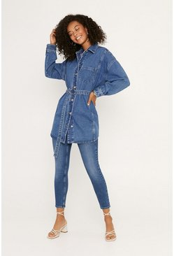 Mid wash Belted Denim Shirt