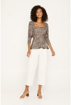 Animal Square Neck Leopard Peplum Top
