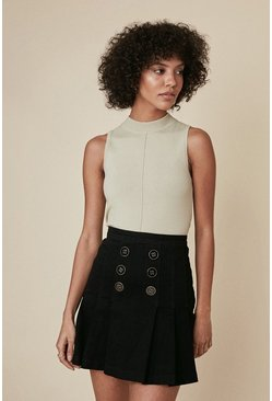Black Button Front Denim Pleated Skirt