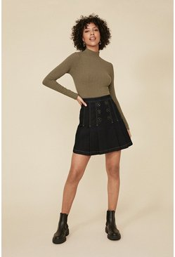 Dark wash Button Front Denim Pleated Skirt